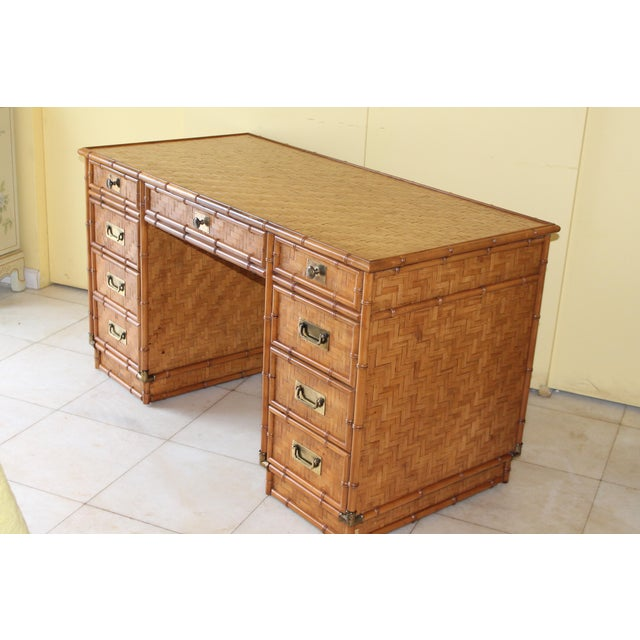 1960s 1960s Vintage Bamboo Campaign Style Writing Desk For Sale - Image 5 of 13