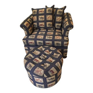Oversized Custom Safari Print Chair & Ottoman For Sale