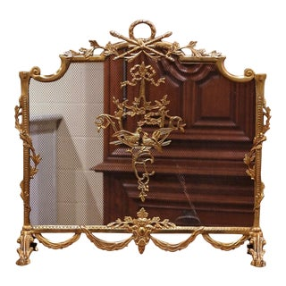 Midcentury French Louis XVI Gilt Brass Fireplace Screen With Bird Decor For Sale