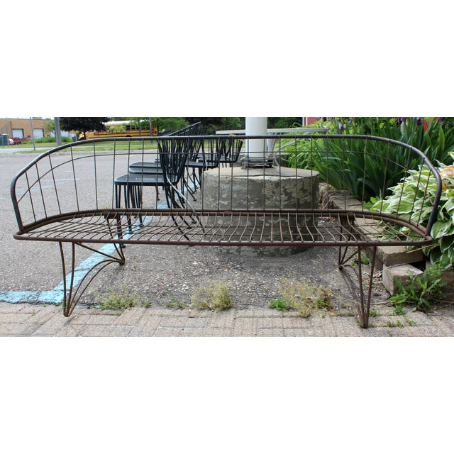 For your consideration is a beautiful, curved iron bench seat, circa the 1960s. In fair vintage condition. The dimensions...
