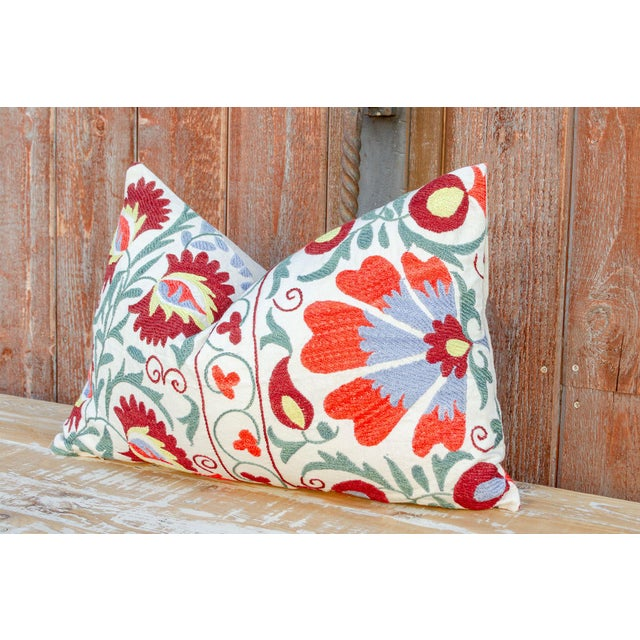 Late 20th Century Nalin Coral Floral Suzani Pillow For Sale - Image 5 of 10