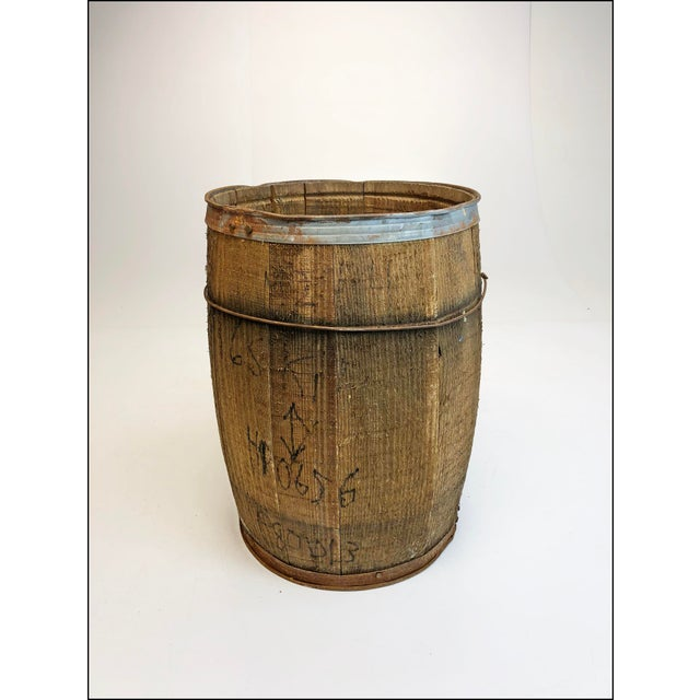 Brown Vintage Rustic Banded Weathered Wood Nail Keg For Sale - Image 8 of 11