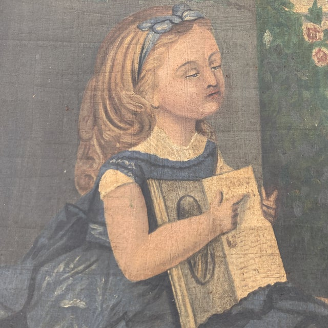 """19th CenturyFolk Art Paintings, """"Learning to Read and to Write"""" With a Dog and a Cat - a Pair For Sale - Image 10 of 13"""