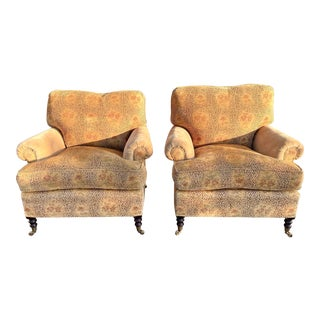 George Smith Short Scroll Arm Chairs - a Pair For Sale
