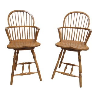 Custom Windsor Saddle Seat Oak Carved Bar Stools - A Pair For Sale