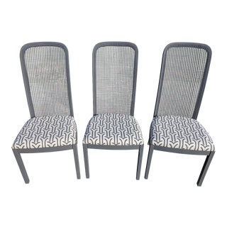 Set of 3- Mid Century Modern Matte Black Caned Jonathan Adler Upholstered Dining Chairs For Sale