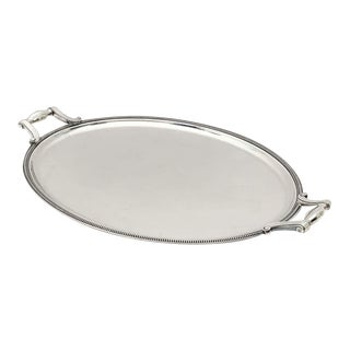 French Silver Oval Serving or Drinks Tray by Christofle For Sale