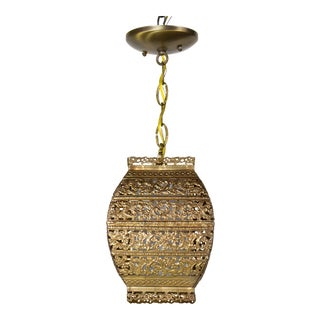 Vintage Gold Filigree Square Pendant Light For Sale