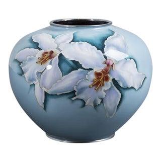 Large Japanese Cloisonné Pale Blue Enamel Vase, circa 1960 For Sale