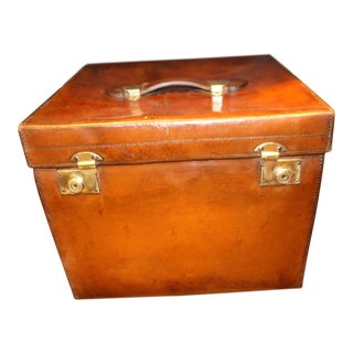 1920s Leather Hat Box For Sale