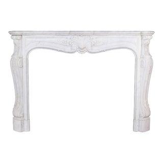 Antique Louis XV Style White Carrara Marble Mantel For Sale