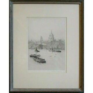 Early 20th Century Rowland Langmaid Etching of St Pauls London From the River Thames For Sale