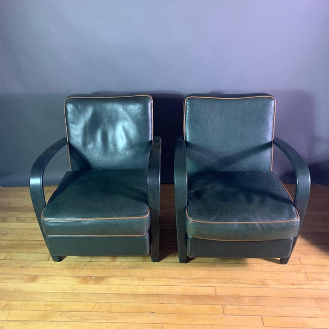Contemporary Pair Baxter Italia Green Leather Armchairs, 1990 For Sale - Image 3 of 11