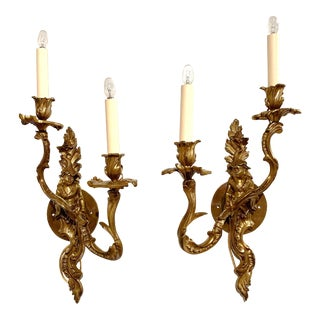 19th Century French Louis XV Patinated Bronze Two-Light Wall Sconces - a Pair For Sale