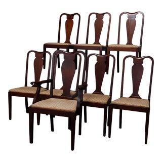 Vintage Hepplewhite Style Slat Back Mahogany Dining Chairs, circa 1930 For Sale