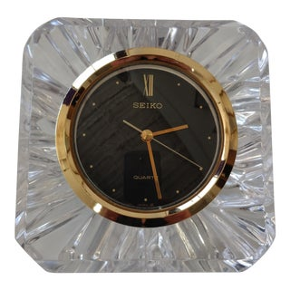 1990s Japanese Seiko Gold and Glass Desk Clock For Sale