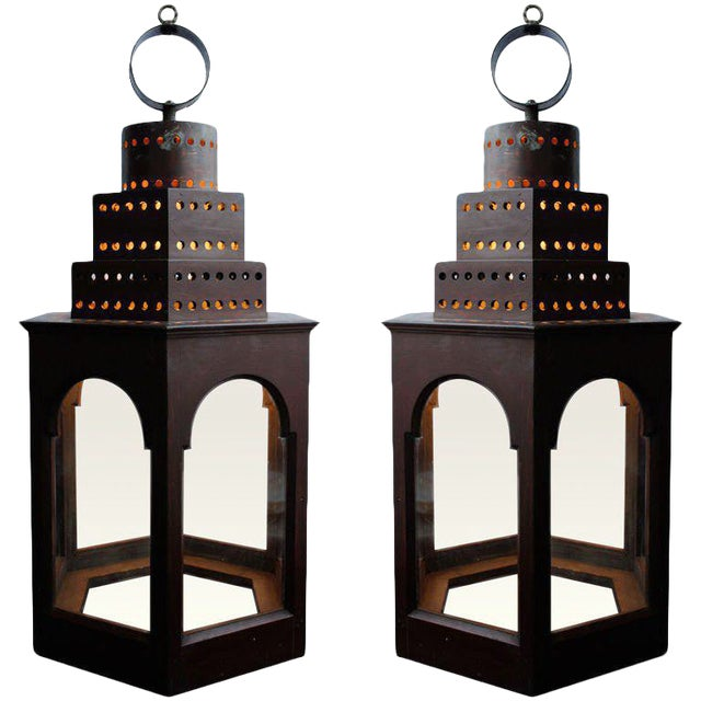 Pair of Red Wooden Lanterns - Image 1 of 11