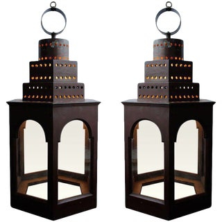 Red Wooden Lanterns - A Pair For Sale