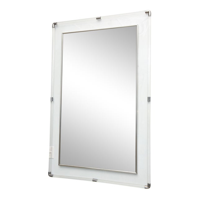 Large American Modern Lucite and Polished Chrome Mirror by Charles Hollis Jones For Sale