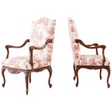 Image of Pair of French Provincial Style Walnut Toile Fauteuil Armchairs For Sale