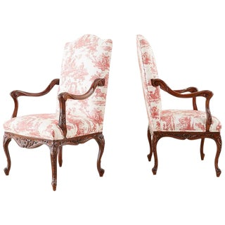 Pair of French Provincial Style Walnut Toile Fauteuil Armchairs For Sale