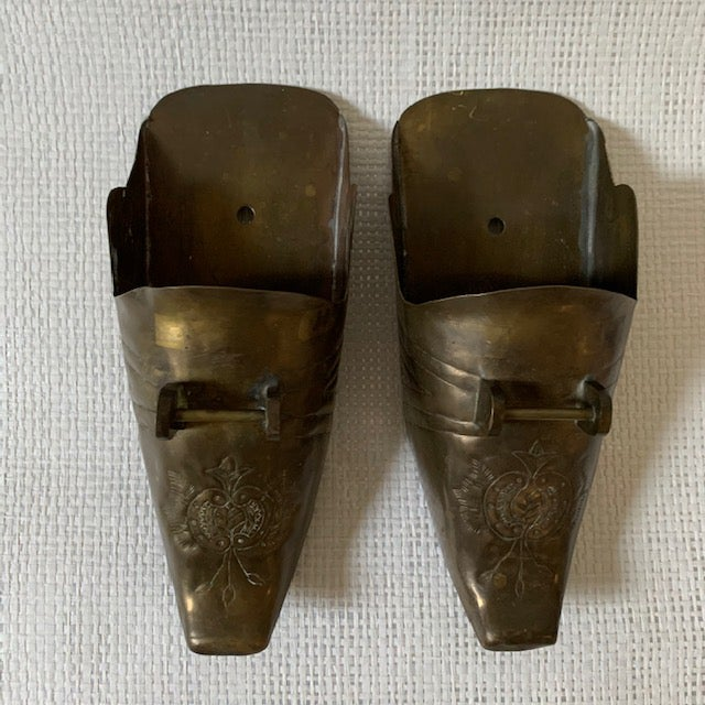 Metal Vintage Spanish Conquistador Brass Stirrup Wall Pockets - a Pair For Sale - Image 7 of 7