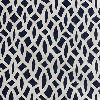 Schumacher Navy Chain Link Hand-Printed Fabric For Sale