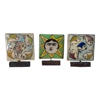 Mounted Vintage Ceramic Persian Tiles - Set of 3 For Sale