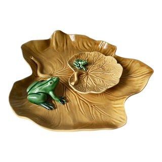 Bordallo Pinheiro Frogs & Lily Pad Dishes - A Pair