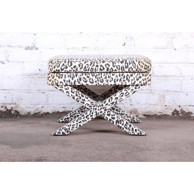 Mid-Century Modern Patrick Frey X-Base Leopard Stool or Ottoman, Paris For Sale - Image 3 of 13