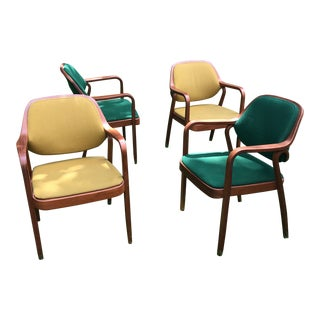 Vintage Mid-Century Modern Knoll Arm Chairs - 2 Left in Mustard For Sale