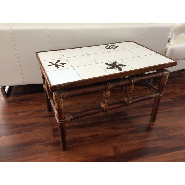 Ficks Reed Mid Century Bamboo & Tile Table - Image 2 of 9