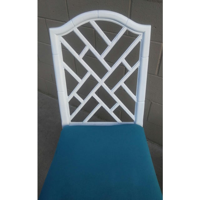 Turquoise Century Chippendale White Faux Bamboo Chairs - a Pair For Sale - Image 8 of 10