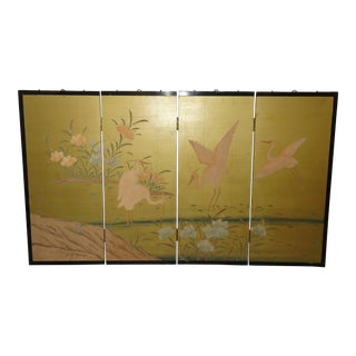 Vintage Japanese Four Panel Screen Gold Crane Wall Picture Oriental Asian For Sale