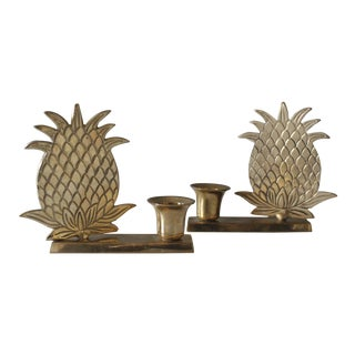 Vintage Brass Pineapple Candlesticks Candle Holders Fruit Tropical