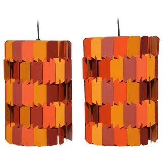 Louis Weisdorf for Lyfa Orange & Rose Facet Pop Hanging Pendants, 1970s - a Pair For Sale