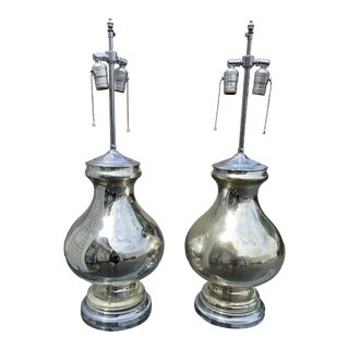 Pair of Vintage Mercury Glass Lamps For Sale