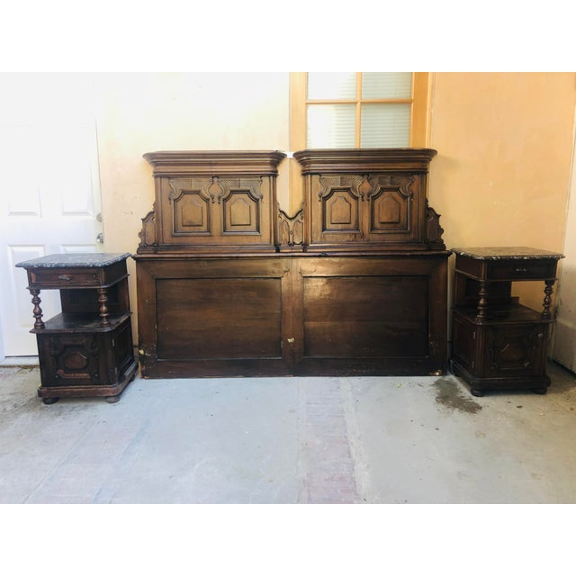 19th Century Jacobean Carved Head Board for King Size Bed With Night Stands - 3 Pieces For Sale - Image 12 of 12