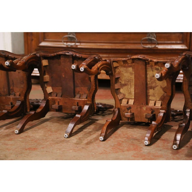 Set of Four 19th Century French Black Forest Carved Walnut Chairs For Sale - Image 12 of 13