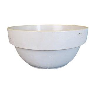 Antique White Stoneware Earthenware Farmhouse Round Bowl For Sale