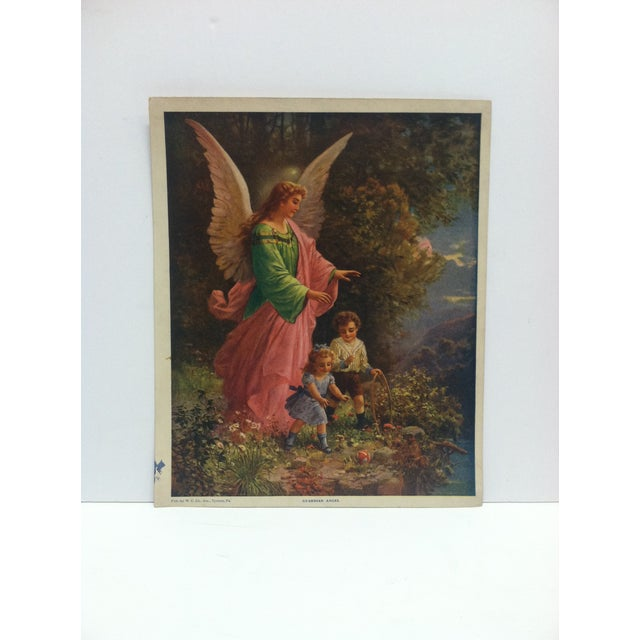 """1920s Vintage Color Print, """"Guardian Angel"""" -- w.c. Company Tyrone, Pa For Sale - Image 5 of 5"""