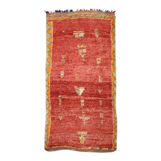 Mid-Century Modern Moroccan Red Rug with Tribal Design