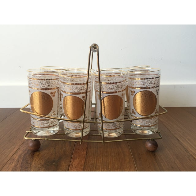Gold Highball Glasses With Caddy - Set of 8 - Image 2 of 7