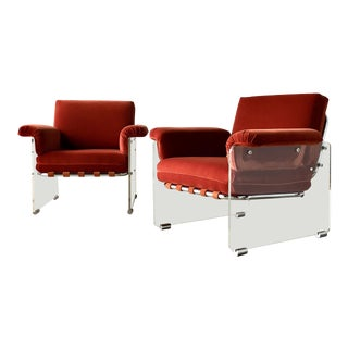 Rare Pair of Lucite Framed Upholstered Armchairs by Pace 1970s For Sale