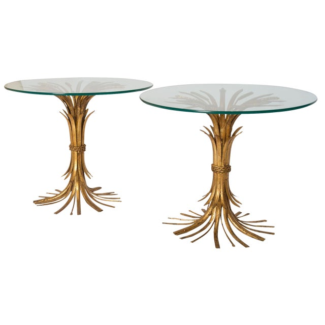Gold Sheaf of Wheat Side Tables - Pair - Image 1 of 3