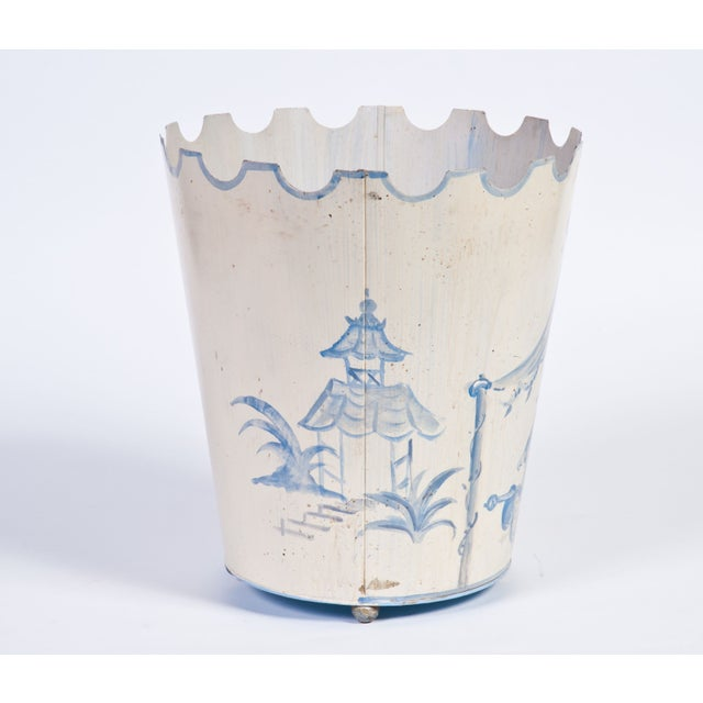 Asian Toile Pail Painted in Blue and White For Sale - Image 3 of 3