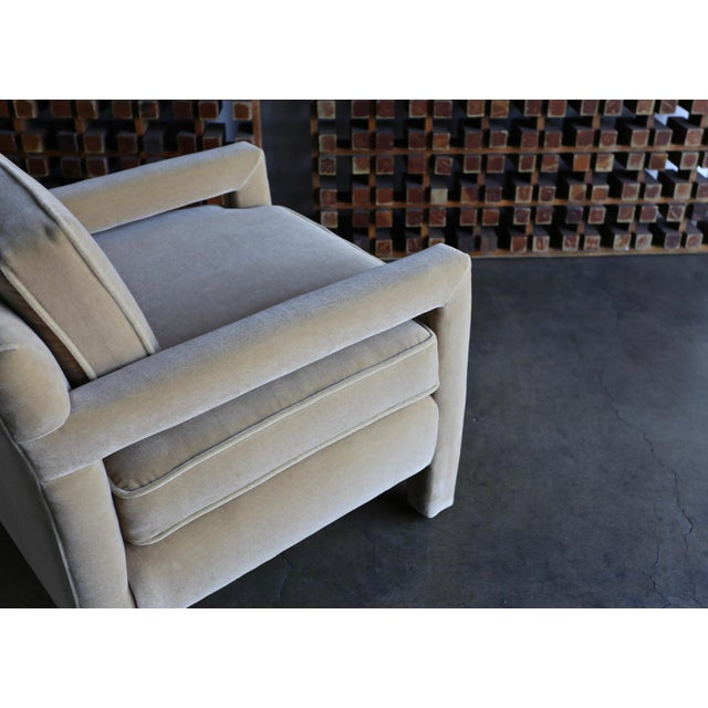 Mohair 1970's Parsons Lounge Chairs in Mohair - a Pair For Sale - Image 7 of 13