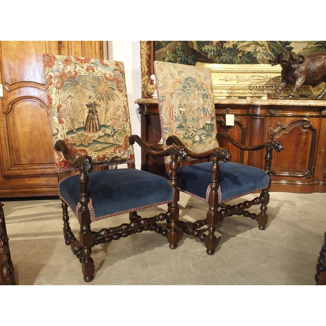 Black 17th Century French Walnut and Saint-Cyr Tapestry Armchairs - a Pair For Sale - Image 8 of 13