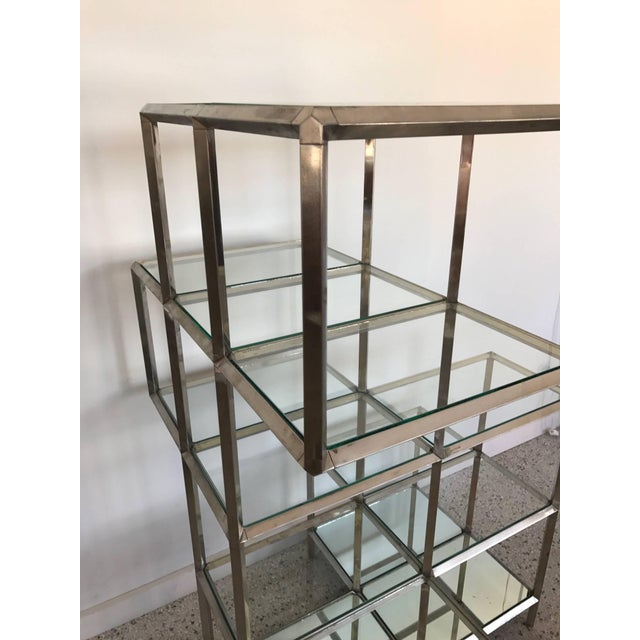 An unusual German (marked made in West Germany), chrome-plated etagere-display unit. Two identical available, priced...