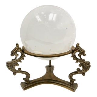 Asian Style Selenite Ball on Brass Decorative Stand For Sale